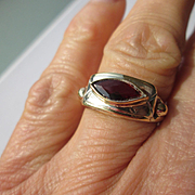 Ocular Red Garnet Artisan Ladies Ring with Silver/9kt Yellow Gold