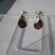 Sterling Silver Pear Shape Garnet Stud Earrings with 14kt Post/Butterfly Closure
