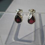 Sterling Silver Pear Shape Garnet Stud Earrings with 14kt Post/Butterfly Closure