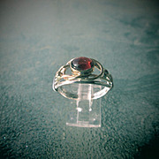 Sterling Silver and 9kt Yellow Gold Oval Almandine Garnet and Diamond Ladies RIng