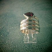 Sterling Silver Wrap Around Garnet Ring
