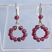 Sterling Garnet Bead Dangle Earrings