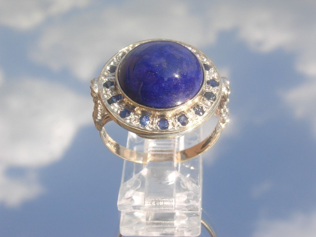 Sterling/9kt Lapis Lazuli and Multi Sapphire Ladies Ring