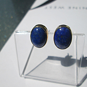 9kt Yellow Gold Lapis Lazuli Stud Earrings