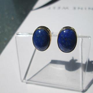9kt Yellow Gold Lapis Lazuli Stud Earrings