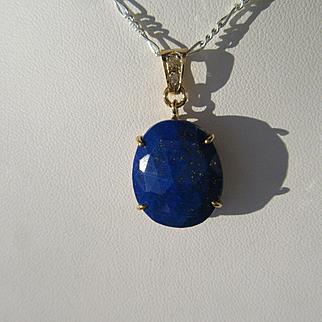 9kt Yellow Gold Oval Lapis Lazuli and Diamond Artisan Pendant