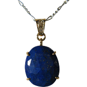 9kt Yellow Gold Oval Lapis Lazuli and Diamond Artisan Pendant
