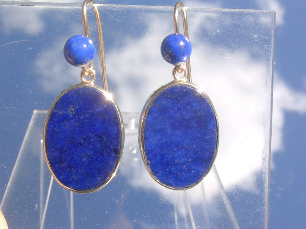 14kt Vivacious Multi Lapis Lazuli Dangle Earrings