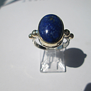 Lapis Lazuli Handmade Sterling Silver/9kt Yellow Gold Ladies Ring