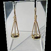 9kt Yellow Dangle Diamond/Moonstone Dangle Artisan Earrings