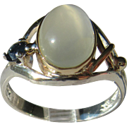 Silver/9kt Pink Gold Oval Grey Moonstone and Sapphire Artisan Ladies Ring