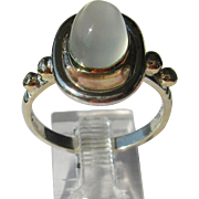 Sterling Silver/9kt Yellow Gold Oval Grey Moonstone and Diamond Ladies Ring