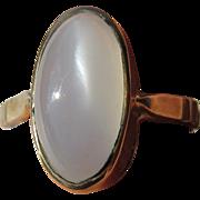 14kt Yellow Gold Oval Grey Moonstone Artisan Ladies Ring