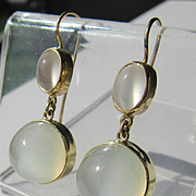 14kt Yellow Gold Luxurious Double Grey Moonstone Dangle Artisan Earrings