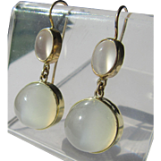 14kt Yellow Gold Luxurious Double Grey Moonstone Dangle Artisan Earrings