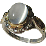 Sterling Silver/9kt Yellow Gold  Oval Grey Moonstone and Diamond Ladies Artisan Ring
