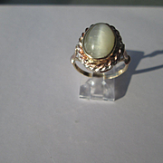 9kt/Silver Grey Cat's Eye Moonstone Ladies Artisan Ring