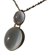 9kt Yellow Gold Double Grey Oval Moonstone Dangling Artisan Pendant