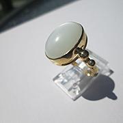 9kt Yellow Gold Smokey Grey Oval Cabochon Moonstone Ladies Ring Handmade