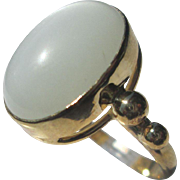 9kt Yellow Gold Smokey Grey Oval Cabochon Moonstone Ladies Ring Handmade