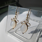 9kt Yellow Gold Grey Moonstone and Diamond Dangling Earrings