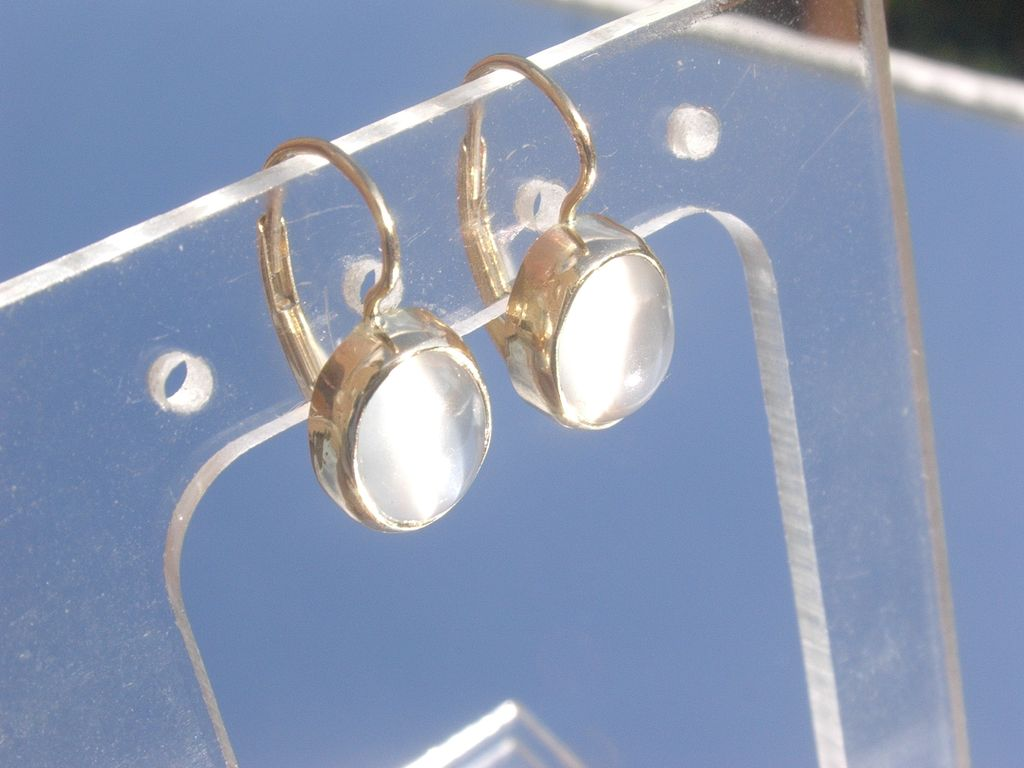 14kt: Dove Grey Cabochon Moonstone Dangle Earrings French Back Closure