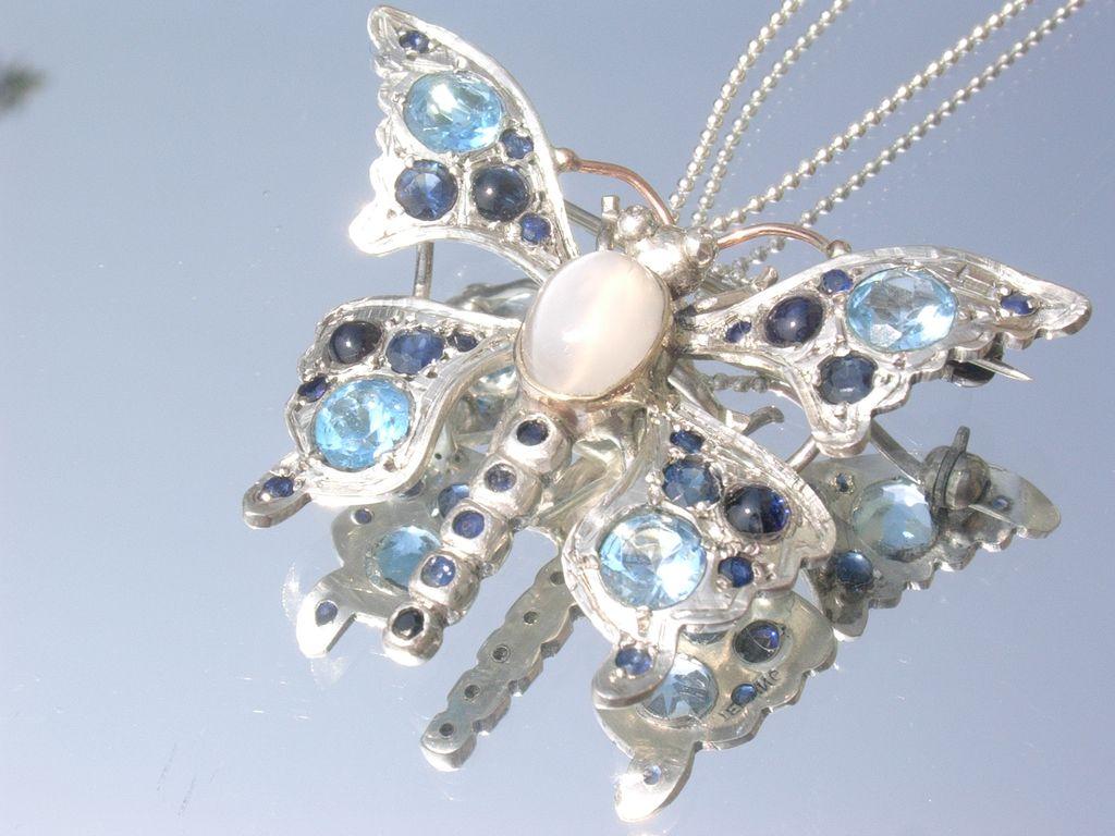 Sterling/9kt Ravishing Blue Topaz/Sapphire/Moonstone Butterfly Brooch/Pendant
