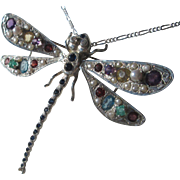 Silver Silver Multi Gemstone Dragonfly Brooch/Necklace with Silver Chain