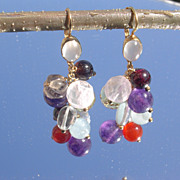 14kt Multi Gem Cluster Dangle Earring