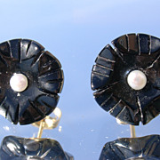 14kt Carved Black Onyx/Seed Pearl Stud Earrings