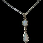 9kt Yellow Gold Dangling Fiery Double Opal Pendant