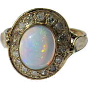 9kt Yellow Gold Fiery Oval Opal and Diamond Ladies Ring
