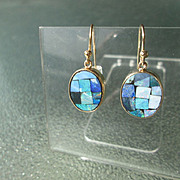 9kt Yellow Gold Oval Mosaic Opal Dangle Earrings
