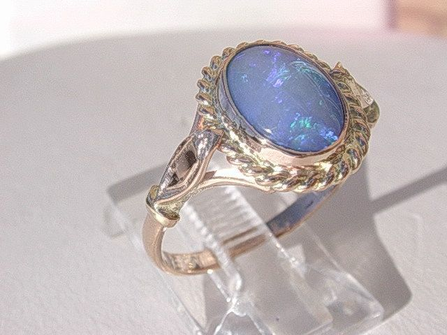 9kt Pink Gold Electrifying Purple/Blue Opal Ladies Ring
