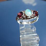 Sterling/9ct Pink Gold Opal/Garnet Ladies Ring