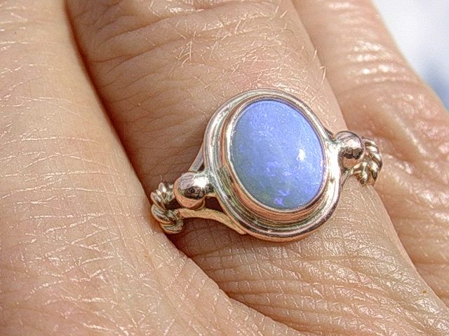 9kt Pink Gold Purple Hue Opal Ladies  Ring