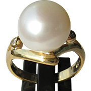 Sterling Silver/9kt Yellow Gold Large Freshwater Pearl and Diamond Ladies Artisan Ring