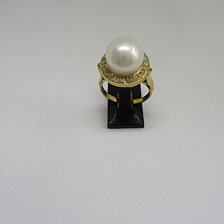 9kt Yellow Gold Freshwater Pearl and Multi Diamond Artisan Ladies Ring