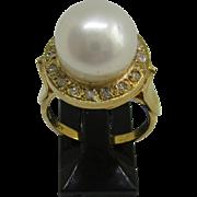 9kt Yellow Gold Freshwater Pearl and Multi Diamond Artisan Ladies Ring