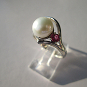 Sterling Silver White Freshwater Pearl and Ruby Artisan Ladies Ring