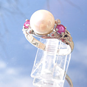 Sterling Freshwater Pearl/Multi Ruby Ladies Ring