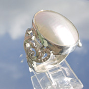 Sterling Large Oval Mother of Pearl Ladies Ring