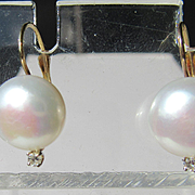 14kt Yellow Gold Artisan Large Freshwater Pearl and Diamond Dangle Earrings