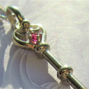 Sterling Silver Heart Shape Ruby Key Pendant with Chain