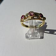 14kt Yellow Gold Pink Tourmaline, Ruby and Diamond Artisan Ladies Ring