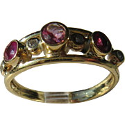 14kt Yellow Gold Pink Tourmaline, Ruby and Diamond Artisan Ladies Ring