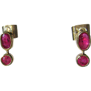 14kt Yellow Gold Oval and Round Ruby Dangle Earrings with Post/Butterfly
