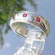 Sterling Multi Ruby & Diamond Unisex Band
