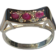 Sterling Silver/9kt Rose  Gold In-ward Arch Multi Ruby/Diamond Ladies Ring