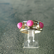Sterling/9kt Yellow Gold Triple Lindy Star Ruby/Diamond Ladies Ring